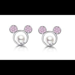 HP X2 🌟 Mickey  CZ Pink /Pearl Silver Mouse studs